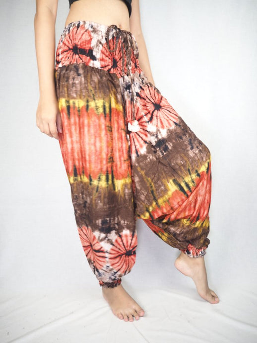 Tie dye  Unisex Aladdin drop crotch pants in Brown PP0056 020040 03