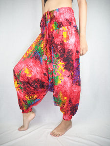Tie dye  Unisex Aladdin drop crotch pants in Red PP0056 020037 01