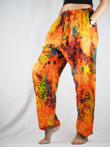 Tie dye Unisex Drawstring Genie Pants in Orange PP0110 020037 06