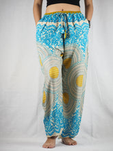 Load image into Gallery viewer, Tone mandala Unisex Drawstring Genie Pants in Light Blue PP0110 020032 03