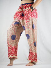 Load image into Gallery viewer, Tone mandala Unisex Drawstring Genie Pants in Red PP0110 020032 02