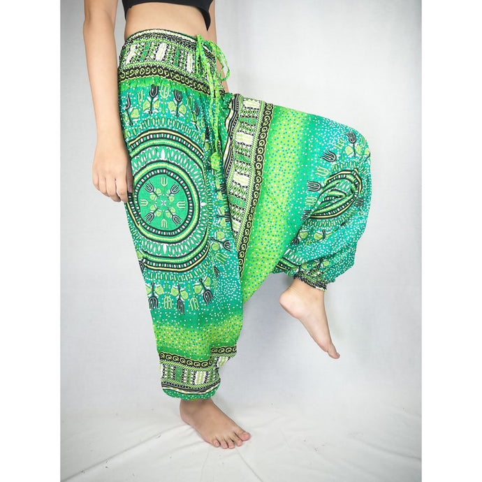 Tribal Dashiki  Unisex Aladdin drop crotch pants in Green PP0056 020060 02