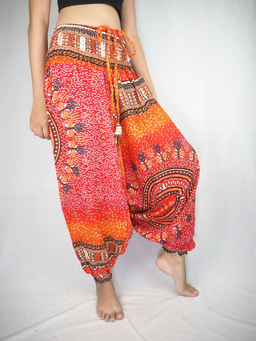 Tribal Dashiki Unisex Aladdin drop crotch pants in Orange PP0056 020060 03