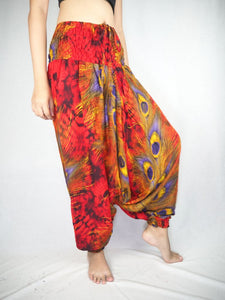 Wild feathers Unisex Aladdin drop crotch pants in Red PP0056 020073 04
