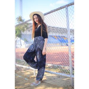 Abstract side flower 160 women harem pants in Black PP0004 020160 01
