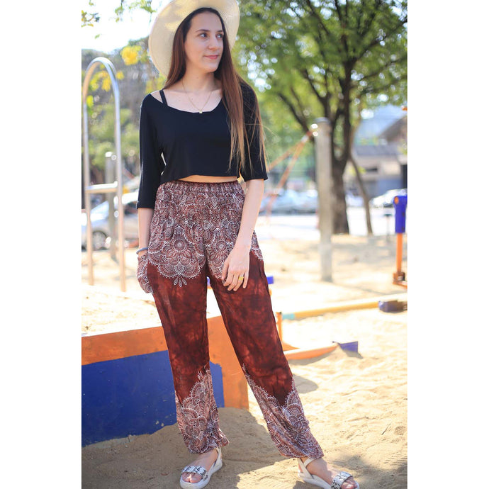 Abstract side flower 160 women harem pants in Brown PP0004 020160 04
