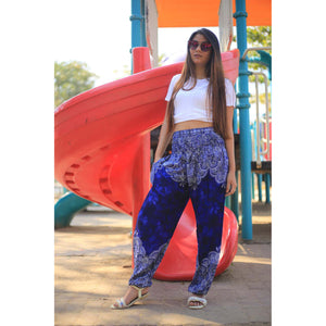 Abstract side flower 160 women harem pants in Navy Blue PP0004 020160 02