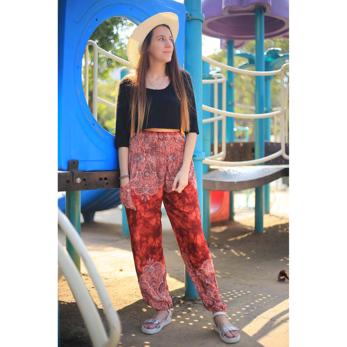 Abstract side flower 160 women harem pants in Red PP0004 020160 03