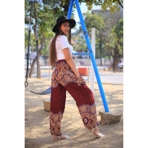 Elegant side flower 163 women harem pants in Dark Red PP0004 020163 03