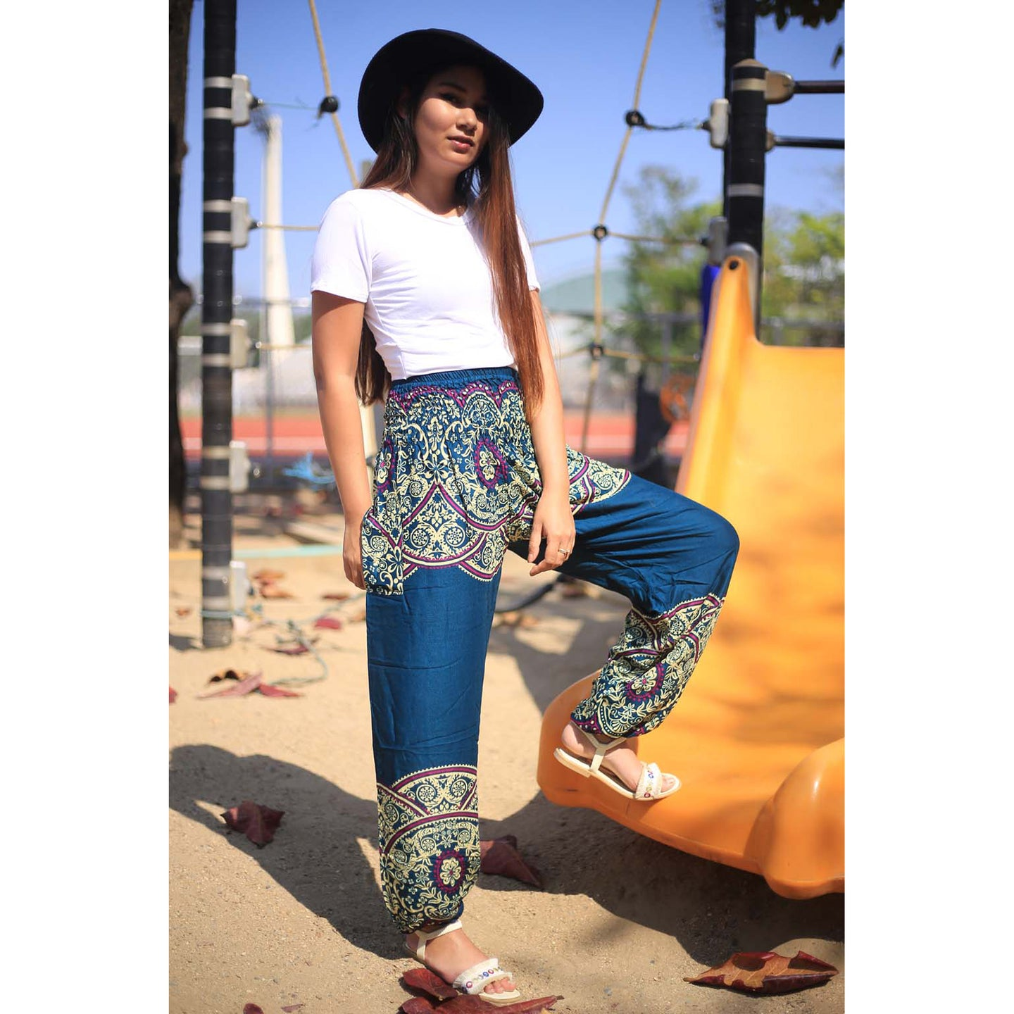 Elegant side flower 163 women harem pants in Ocean blue PP0004 020163 06