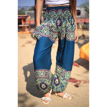Load image into Gallery viewer, Elegant side flower 163 women harem pants in Ocean blue PP0004 020163 06