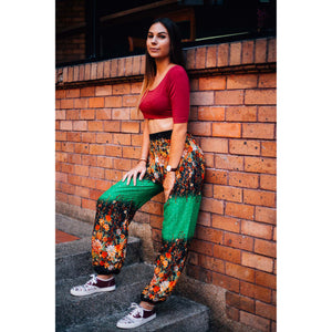 Flowers 101 women harem pants in Green PP0004 020101 04