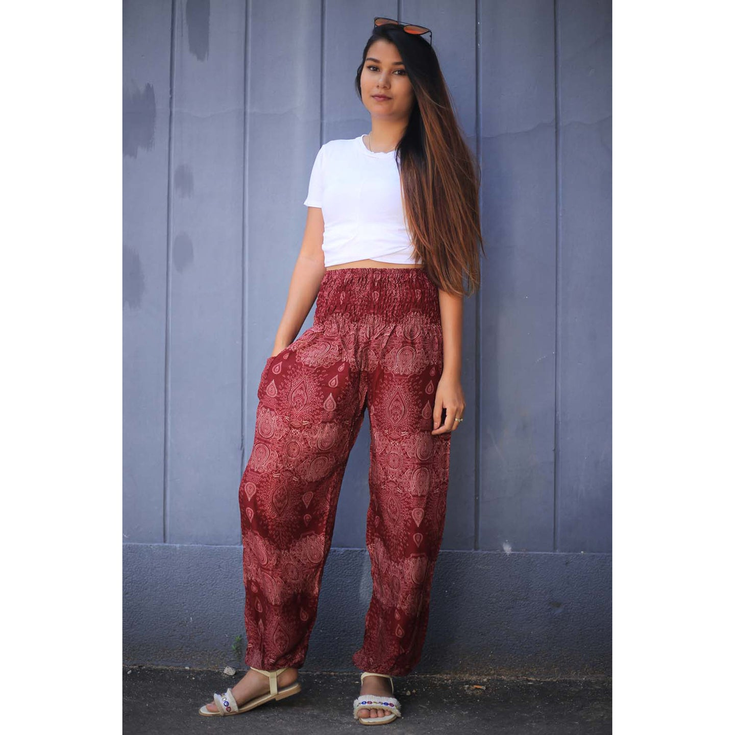Paisley 133 women harem pants in Red PP0004 020133 01