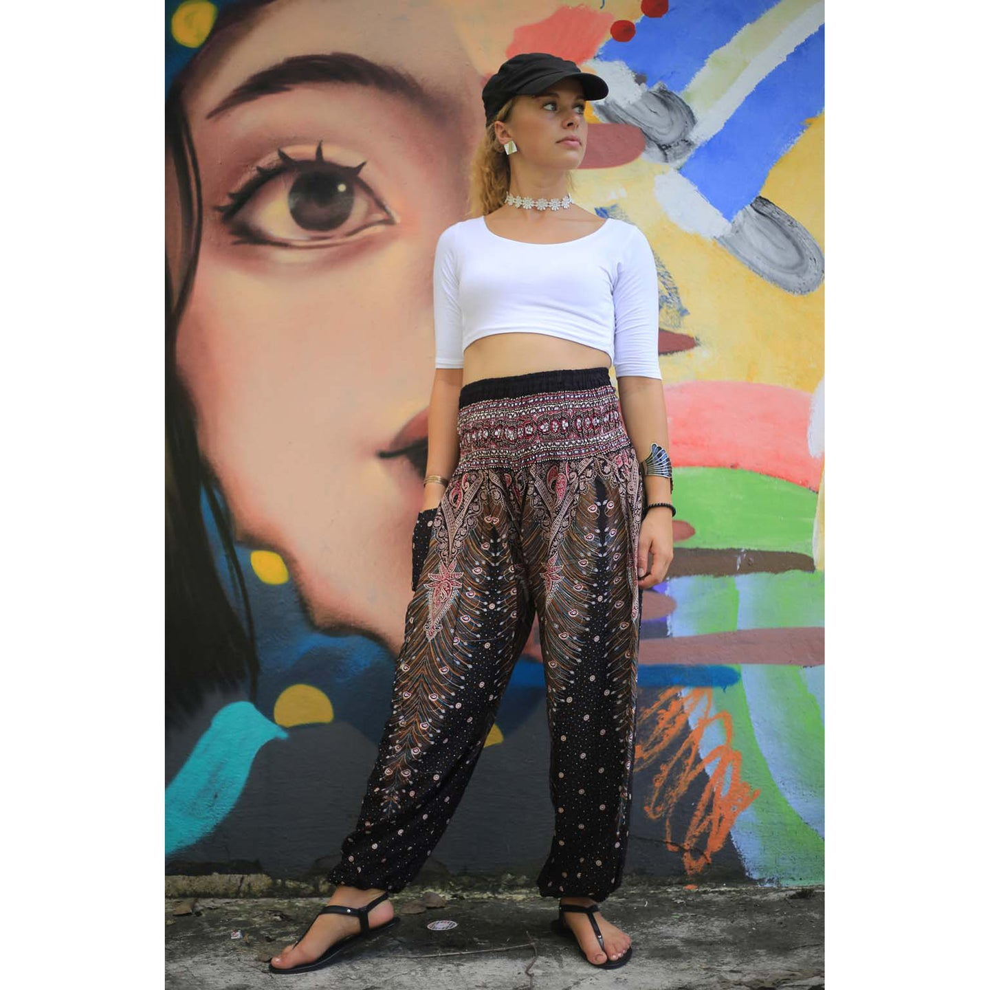 Peacock 7 Men/Women's Harem Pants in Balck White PP0004 020007 06