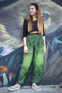 Side flower 131 women harem pants in Green PP0004 020131 04