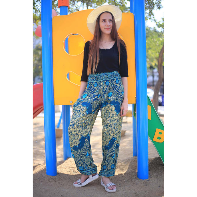 Temple flower 159 women harem pants in Ocean Blue PP0004 020159 01