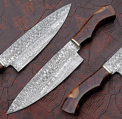 "Custom Handmade Damascus Steel Chef Knife 14"" Ladder Pattern - Turtle Blades"