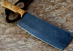 "Custom Handmade Chef Cleaver Knife Damascus Steel 12.0"" Ladder Pattern - Turtle Blades"