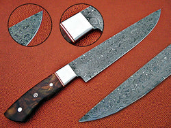 "Damascus Chef Kitchen Knife 14.0"" Overall Length Handmade Knife - Turtle Blades"