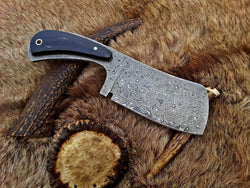 "Damascus Meat Cleaver Knife for Chefs 12.0"" Handle Made with Buffalo Horn - Turtle Blades"