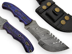 Fixed Blade Tracker Knife Damascus Steel With Paka Wood Handle - Turtle Blades