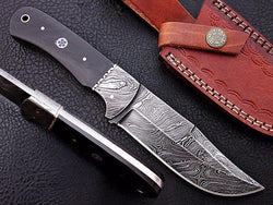 "Custom Handmade Damascus Hunting Knife 10"" Beautiful Buffalo Horn Handle - Turtle Blades"