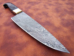 "13.0"" Custom Made Kitchen Chef Knife Damascus Steel Twist Pattern - Turtle Blades"