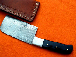 Handmade Chef Meat Cleaver Knife Damascus Steel Twist Pattern - Turtle Blades