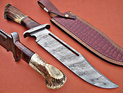 "Custom Hand Made Damascus Bowie Knife 17"" Overall Length - Turtle Blades"