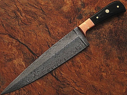 "CUSTOM HANDMADE DAMASCUS - DAMASCUS KITCHEN CHEF KNIFE BLACK MICARTA HANDLE 12"" - Turtle Blades"