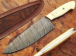 "CUSTOM HANDMADE DAMASCUS KITCHEN CHEF BEAUTIFUL KNIFE CAMEL BONE 11"" - Turtle Blades"