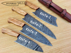 Handmade Damascus Steel Chef Knife Set of 4 B.B.Q Knives - Turtle Blades