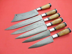 Damascus Steel Kitchen Chef Knives Set 6-Pcs - Turtle Blades