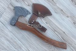 "Hand Forged Damascus Steel Tomahawk Axe 18.0"" Hand Forged 5.0"" x 7.5"" Head - Turtle Blades"