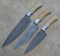 3 Pcs Set of Handmade Chef Knife Damascus Steel & Handle made with Camel Bone - Turtle Blades