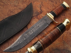 Hunting Knife Custom Made with Damascus Steel and with Beautiful Leather Handle - Turtle Blades