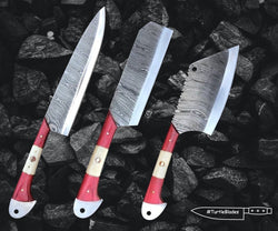 Damascus chef knives set of 3 Pcs including Kitchen Cleaver Knife - Turtle Blades