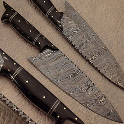 Handmade Damascus Kitchen Chef Knife - Damascus Knife Beautiful Buffalo Horn Handle - Turtle Blades