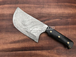"Damascus Meat Cleaver Knife for Chefs 13.0"" Buffalo Horn Handle - Turtle Blades"