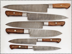 Handmade Kitchen Knives Set of 6-Pcs  Damascus Steel & Handle made with Rosewood - Turtle Blades