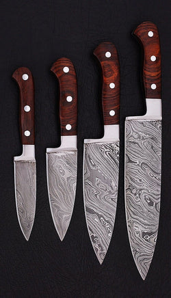 Handmade Kitchen Knives Set of 4-Pcs Damascus Steel Blades - Turtle Blades