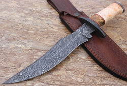 "14"" Hunting Bowie Knife Handmade Damascus Steel Beautiful Colored Bone Handle - Turtle Blades"