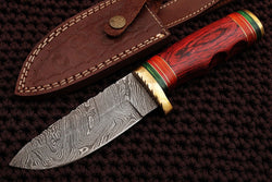 Handmade Skinner Knife Damascus Steel Paka Wood Handle - Turtle Blades