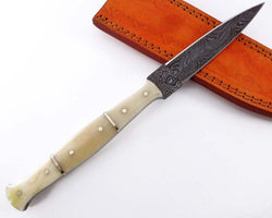 Slim Dagger Knife Damascus  Steel Hunting Camping Sports Outdoor - Turtle Blades