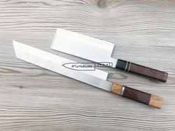 "Sushi Chef Knife and  Vegetable Knife Set 17.0"" and 12"" Handmade Wooden Handle - Turtle Blades"