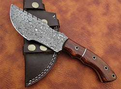 "Tracker Knife Damascus Steel Raindrop Pattern 10"" Overall Size - Turtle Blades"