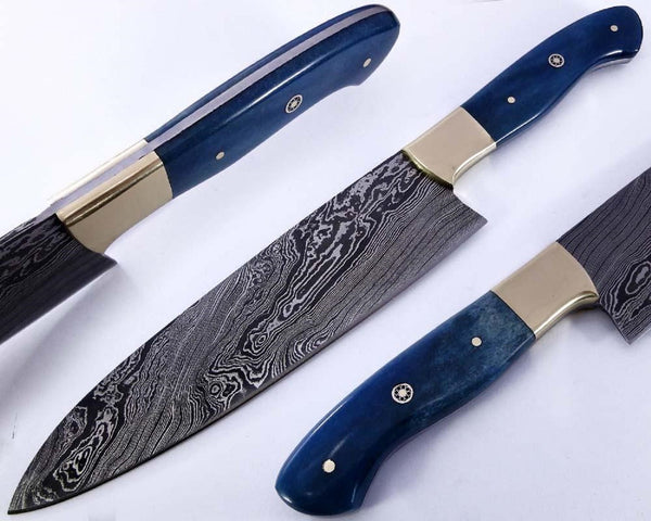 Chef Kitchen Knife Damascus Steel Colour Dyed Bone Handle 12.50\
