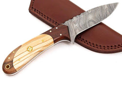 Custom Handmade Hunting Knife Outdoor Skinner/Bushcraft Knife Damascus Steel Camel Bone Handle - Turtle Blades