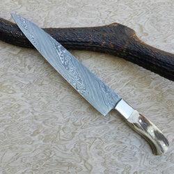 "Damascus Steel Chef Knife Stag Horn Handle 13.5"" - Turtle Blades"
