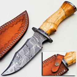 "Handmade Hunting Knife 10"" Damascus Steel wooden Handle"